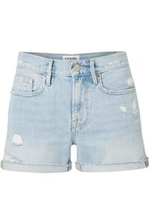Frame Le Brigette Frayed Denim Shorts Light Denim