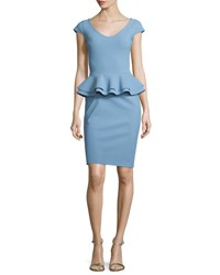 La Petite Robe Di Chiara Boni Kiarna Cap Sleeve Peplum Cocktail Dress Cobalt