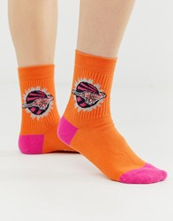 Paul Smith Ps Kean Badge Cheetah Socks Orange