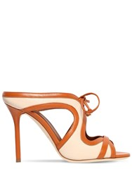 Malone Souliers 100Mm Soraia Leather Lace Up Mules Tan