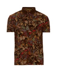 Valentino Butterfly Print Cotton Pique Polo Shirt