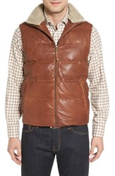 Missani Le Collezioni Men's Quilted Leather Vest With Removable Genuine Shearling Collar