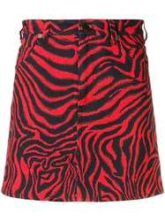 Calvin Klein 205W39nyc Zebra Print Mini Skirt Red