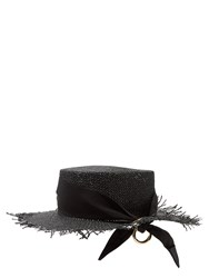 Federica Moretti Frayed Edge Panama Woven Paper Hat Black