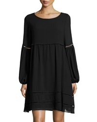Max Studio Bubble Sleeve Ladder Stitch Dress Black