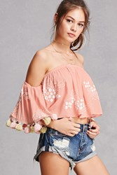 Forever 21 Off The Shoulder Crop Top Peach