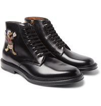 Gucci Disney Appliqued Polished Leather Boots Black