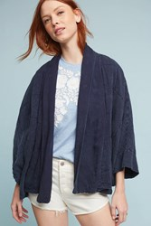 Anthropologie Quilted Cardigan Navy