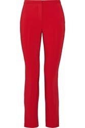 Rosetta Getty Cropped Stretch Cady Skinny Pants Red