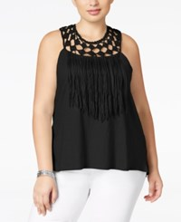 Jessica Simpson Trendy Plus Size Tae Crochet Fringe Top Black