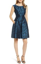 Anne Klein Windy Petals Jacquard Fit And Flare Dress Juniper Combo