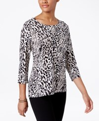 Jm Collection Animal Print Jacquard Top Only At Macy's Neutral Combo