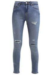 Miss Selfridge Lizzie Slim Fit Jeans Mid Denim Blue Denim
