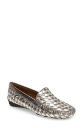 Robert Zur Women's Woven Venetian Loafer Antique Silver Leather