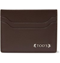 Tod's Embellished Grained Leather Card Holder Brown