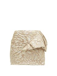 Alexandre Vauthier Ruffle Trim Leopard Brocade Mini Skirt Light Pink