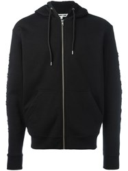 Mcq By Alexander Mcqueen Embroidered Sleeve Hoodie Black
