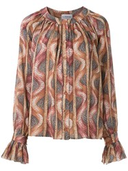 Olympiah Ruched Stone Pattern Blouse Multicolour