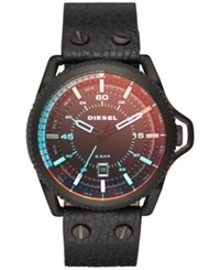Diesel Men's Rollcage Black Leather Strap Watch 46Mm Dz1793