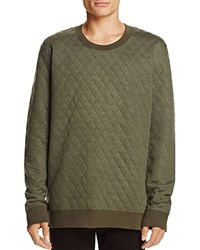 Sovereign Code Eagan Quilted Crewneck Sweatshirt Olive Green