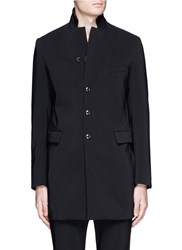 Attachment Rever Lapel Long Blazer Black