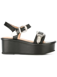 Toga Buckled Platform Sandals Black