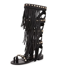 Ivy Kirzhner Tropez Fringed Leather Gladiator Sandal Black