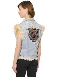 Forte Couture Tiger Denim And Faux Shearling Vest