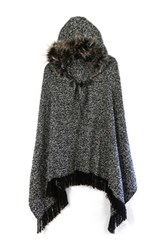 Do Everything In Love Faux Fur Trimmed Toggle Clasp Shawl Scarf Black