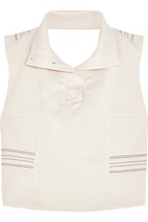 Atlein Cropped Stitched Stretch Jersey Crepe Top Cream