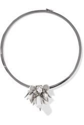 Eddie Borgo Silver Tone Crystal And Ceramic Necklace