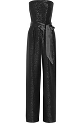 Oscar De La Renta Metallic Silk Blend Jumpsuit Black