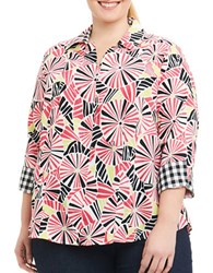 Foxcroft Plus Printed Three Quarter Sleeve Blouse Floral Print