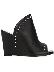 Stuart Weitzman Studded Wedge Mules Black