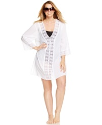 Lablanca La Blanca Plus Size Crochet Trim Tunic Cover Up Women's Swimsuit White