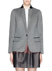 Vince Leather Trim Wool Blend Flannel Blazer Grey