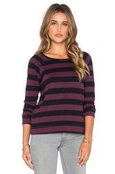 Sundry Rugby Stripe Long Sleeve Raglan Tee Purple