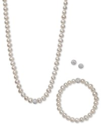 Macy's White Gray Or Pink Cultured Freshwater Pearl 7Mm And Crystal Collar Jewelry Set