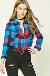 Forever 21 Fleece Plaid Shirt Black Red