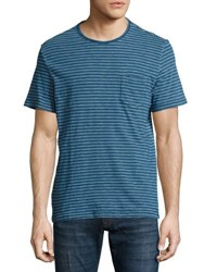 Faherty Short Sleeve Striped Tee Indigo