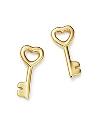 Moon And Meadow Key Stud Earrings In 14K Yellow Gold 100 Exclusive