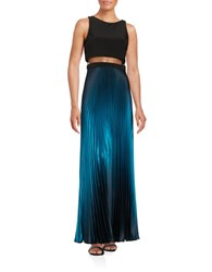 Betsy And Adam Mesh Trim Metallic Plisse Gown Black Teal