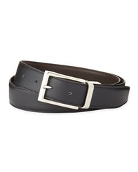 Ermenegildo Zegna Reversible Belt W Polished Buckle Black Dark Brown