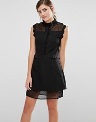 Fashion Union Sleeveless Shirt Dress With Sheer Spot Panels And Scallop Trim Black