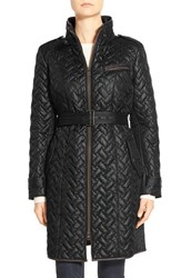 Women's Cole Haan Long Belted Quilted Down And Feather Fill Coat