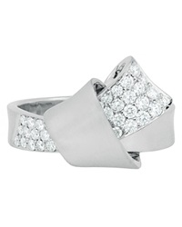 Carelle Jumbo Diamond Pave Knot Ring In White Gold