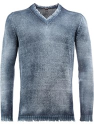 Avant Toi Distressed V Neck Jumper Blue