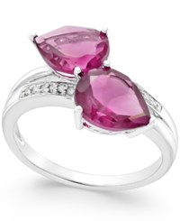 Macy's Pink Sapphire 4 Ct. T.W. And Diamond Accent Statement Ring In 14K White Gold