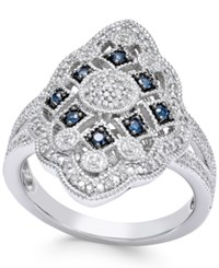 Macy's Sapphire 1 7 Ct. T.W. And Diamond 1 7 Ct. T.W. Ring In Sterling Silver Blue