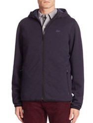 Lacoste Cotton Hooded Jacket Navy